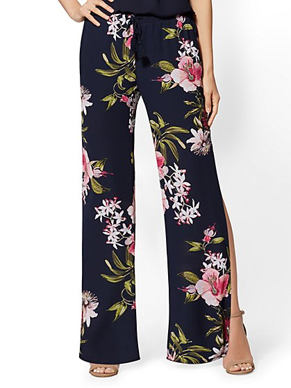 Floral Drawstring-Tie Pant - New York & Company