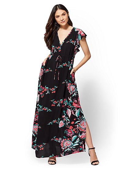 Floral Flutter-Sleeve Maxi Dress - New York & Company