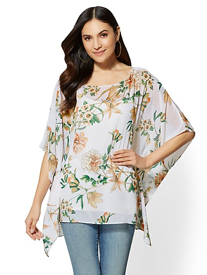 Floral & Graphic Print Topper - New York & Company