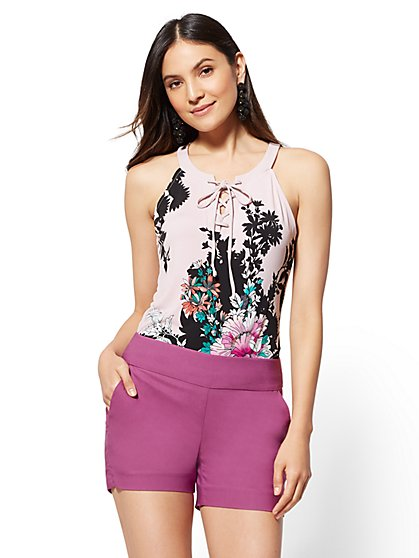 Floral Lace-Up Halter Top - New York & Company