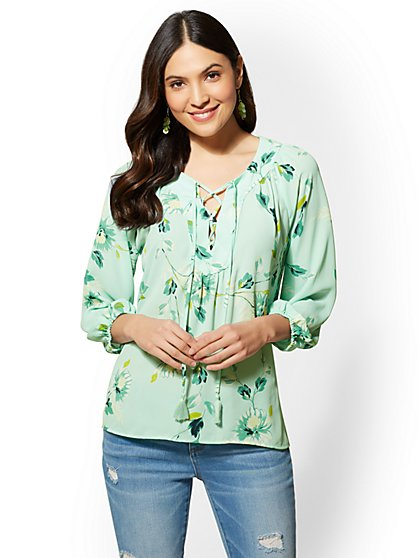 Floral Lace-Up Peasant Blouse - New York & Company