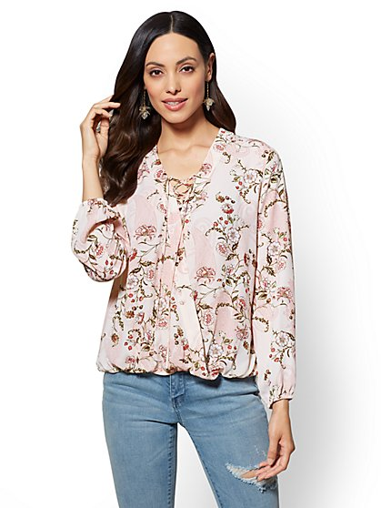 Floral Lace-Up Wrap Blouse - New York & Company