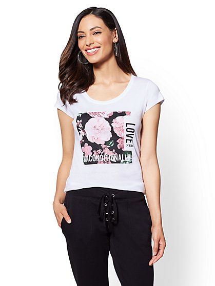"""Floral """"Love Unconditionally"""" Graphic Logo Tee - New York & Company"""