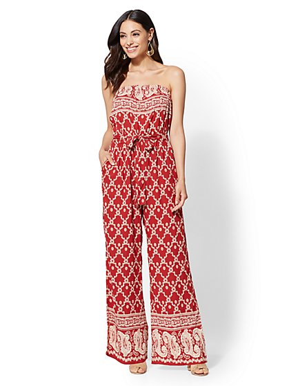 Floral & Paisley Strapless Jumpsuit - New York & Company