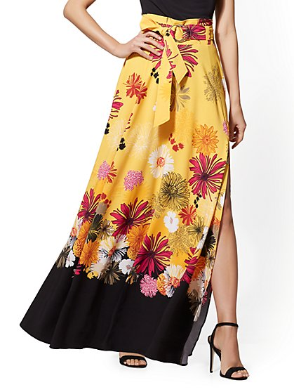Floral Paperbag-Waist Maxi Skirt - New York & Company