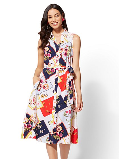 Floral Patchwork Shirtdress - New York & Company