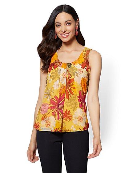 Floral Pleated Chiffon Overlay Shell - New York & Company
