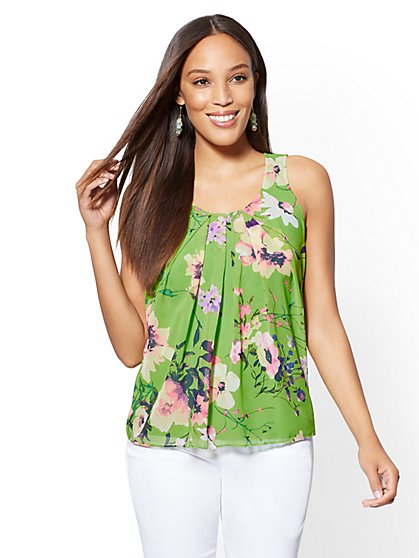 Floral-Print Chiffon-Overlay Shell - New York & Company