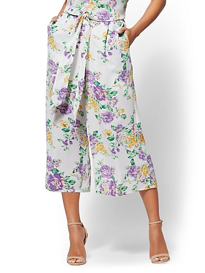 Floral Pull-On Culotte Pant - New York & Company