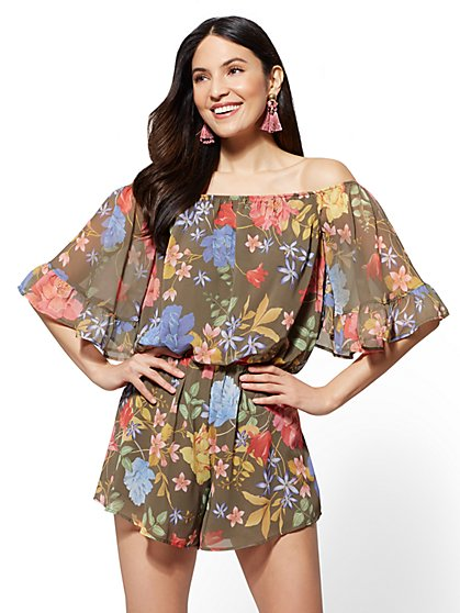 Floral Ruffled Off-The-Shoulder Romper - New York & Company