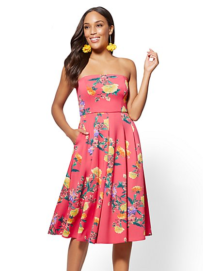 Floral Strapless Flare Dress - New York & Company