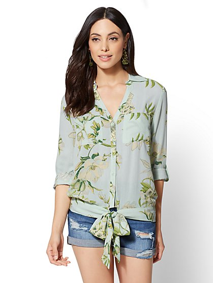 Floral Tie-Front Blouse - New York & Company