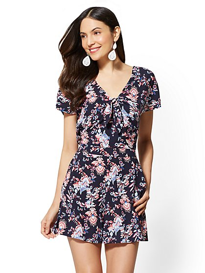 Floral Tie-Front Romper - New York & Company