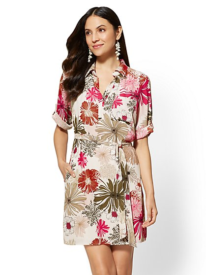 Floral Tie-Front Shirt Dress - New York & Company
