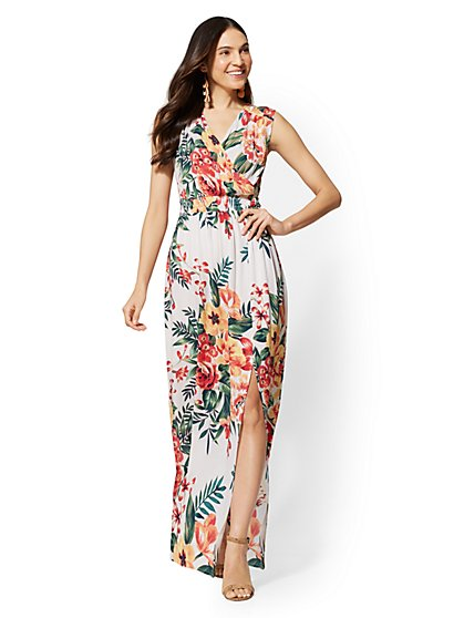 Floral V-Neck Maxi Dress - New York & Company