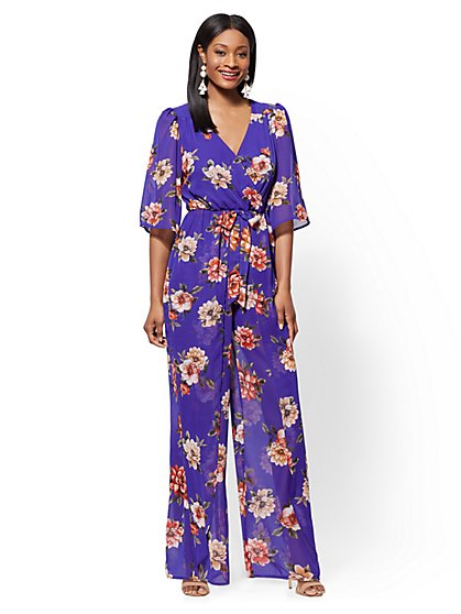 Floral V-Neck Wrap Jumpsuit - New York & Company