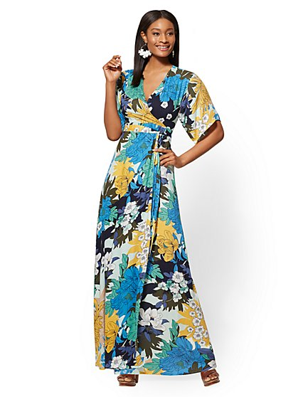 Floral V-Neck Wrap Maxi Dress - New York & Company