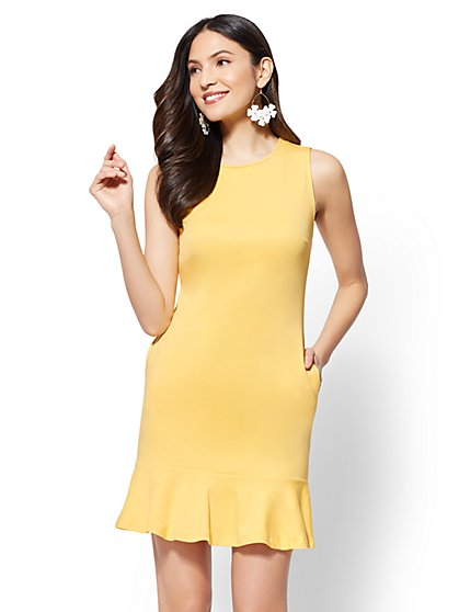 Flounced-Hem Cotton Flare Dress - New York & Company