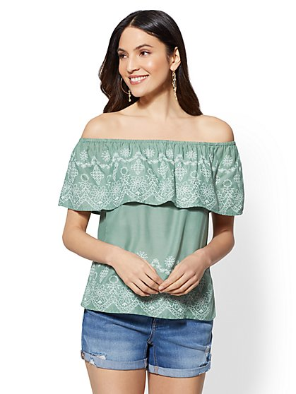 Flounced Off-The-Shoulder Blouse - New York & Company