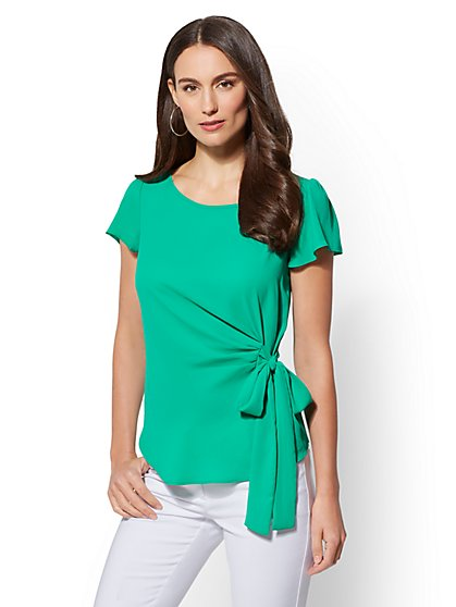 Flounced-Sleeve Side-Tie Blouse - New York & Company