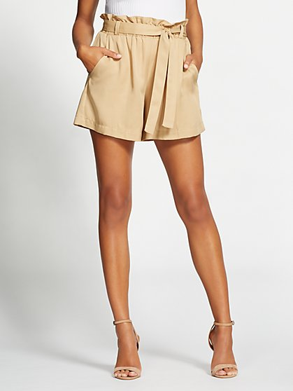 Gabrielle Union Collection - Beige Paperbag-Waist Short - New York & Company
