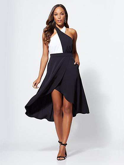 Gabrielle Union Collection - Black & White Halter Dress - New York & Company
