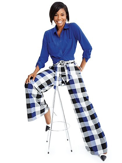 Gabrielle Union Collection - Blue Plaid Wide-Leg Pant - New York & Company