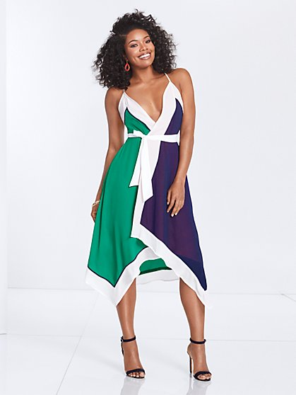 Gabrielle Union Collection - Colorblock Wrap Dress - New York & Company