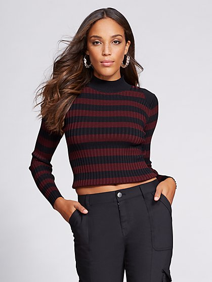 Gabrielle Union Collection - Crop Sweater - Stripe - New York & Company