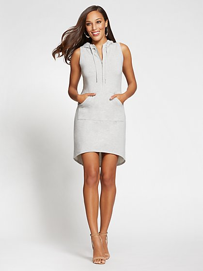 Gabrielle Union Collection - Grey Hooded Shift Dress - New York & Company