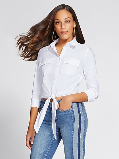 Gabrielle Union Collection - Hi-Lo Tie-Front Shirt - New York & Company