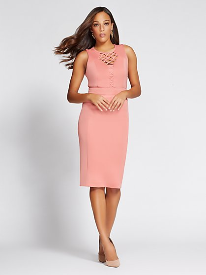 Gabrielle Union Collection - Lattice-Front Sheath Dress - New York & Company