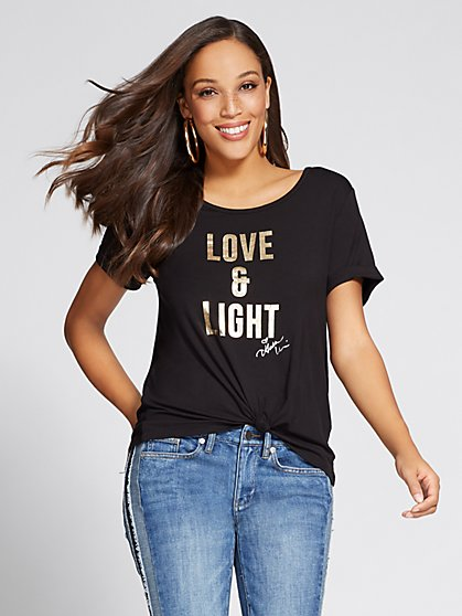 "Gabrielle Union Collection - Metallic-Foil ""Love & Light"" Tee - New York & Company"