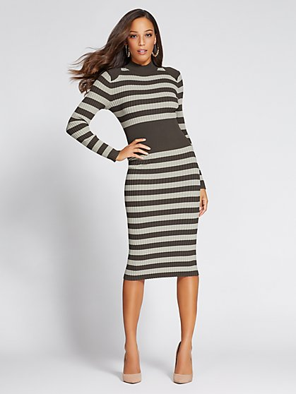 Gabrielle Union Collection - Mock-Neck Sweater Dress - Stripe - New York & Company