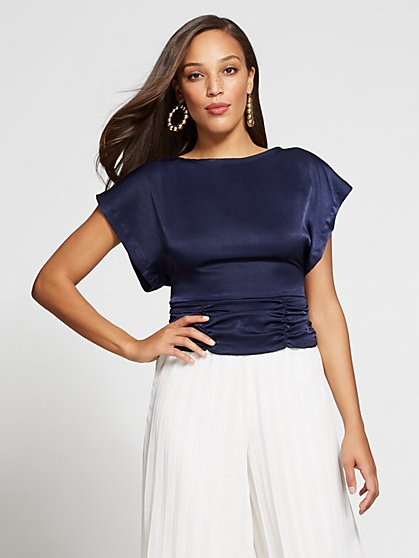 Gabrielle Union Collection - Navy Open-Back Blouse - New York & Company