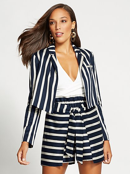 Gabrielle Union Collection - Navy Stripe Crop Jacket - New York & Company