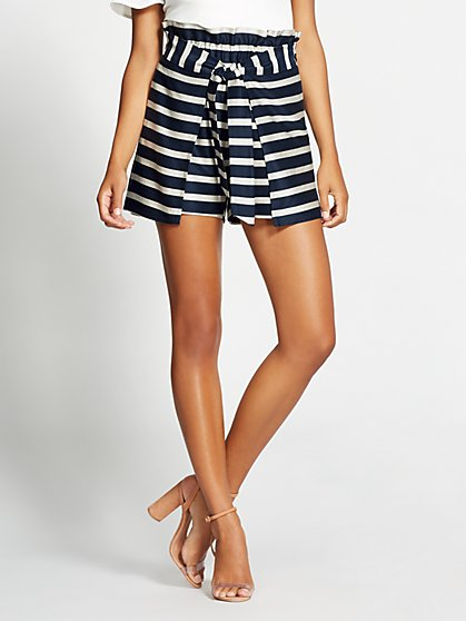 Gabrielle Union Collection - Navy Stripe Paperbag-Waist Short - New York & Company