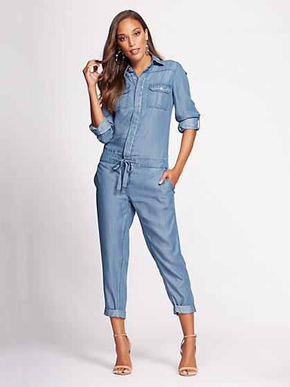 Gabrielle Union Collection - Petite Denim Jumpsuit - Cold Blue - New York & Company