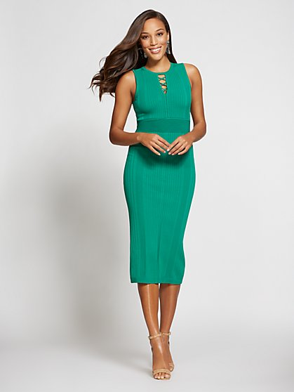 Gabrielle Union Collection - Petite Lace-Up Textured Sweater Dress - New York & Company