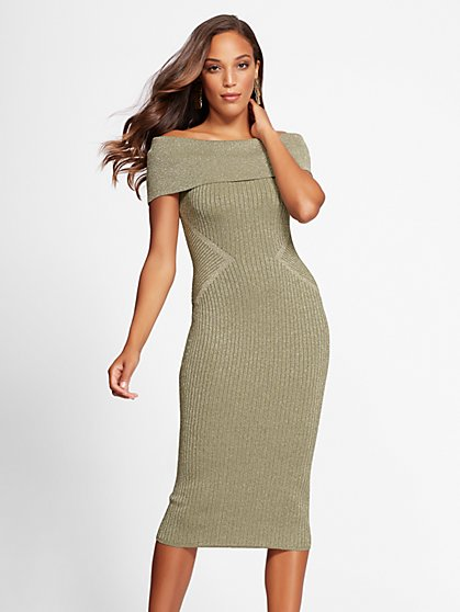 Gabrielle Union Collection - Petite Metallic Sweater Dress - New York & Company