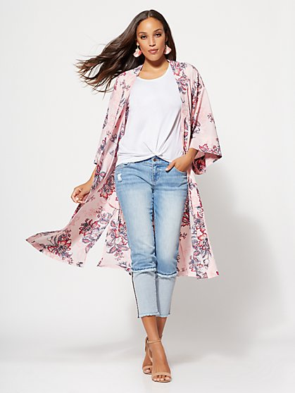 Gabrielle Union Collection - Pink Floral Kimono Jacket - New York & Company