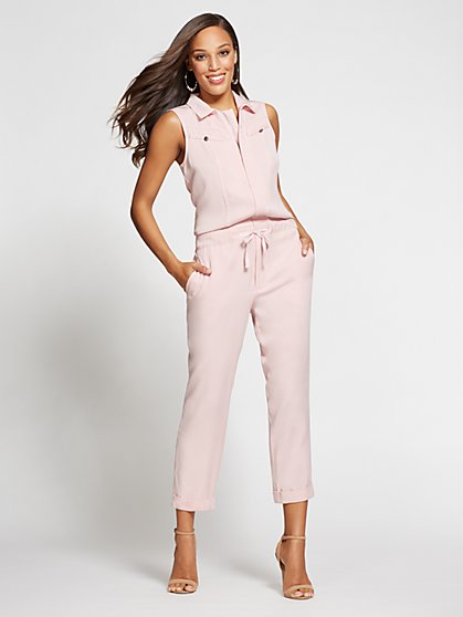Gabrielle Union Collection - Pink Zip-Front Jumpsuit - New York & Company