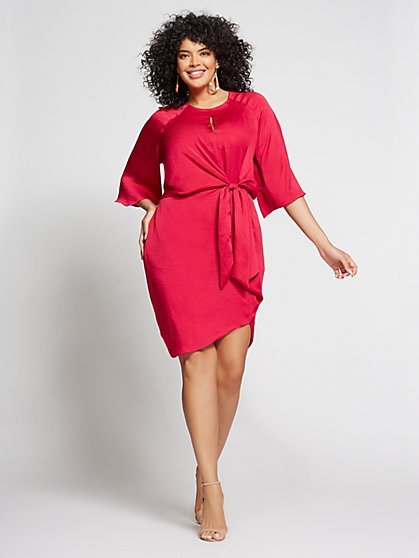 Gabrielle Union Collection - Plus Berry Tie-Front Shift Dress - New York & Company