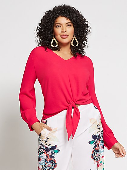 Gabrielle Union Collection - Plus V-Neck Tie-Front Blouse - New York & Company