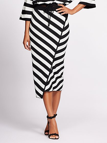Gabrielle Union Collection - Stripe Wrap Sweater Skirt - New York & Company