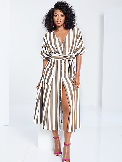 Gabrielle Union Collection - Striped Kimono Dress - New York & Company