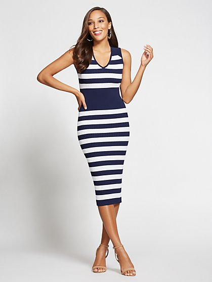 Gabrielle Union Collection - Striped V-Neck Sweater Dress - New York & Company