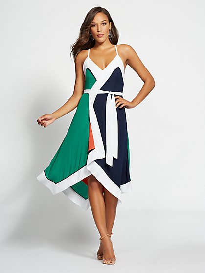 Gabrielle Union Collection - Tall Colorblock Wrap Dress - New York & Company