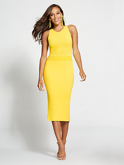 Gabrielle Union Collection - Tall Yellow Halter Sweater Dress - New York & Company