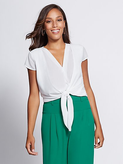 Gabrielle Union Collection - Tie-Front Wrap Blouse - New York & Company